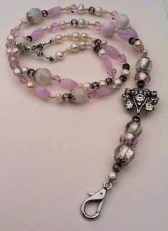 """Beaded lanyard ID badge holder """"Pink frost"""" by Acacia Bella on Etsy, $60.00"""