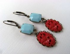 Handmade Earrings Vintage Red and Turquoise Blue by TheSilverDog, $12.00