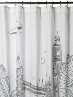 Danny would love this shower curtain in their bathroom!  A London themed bath. Love it!