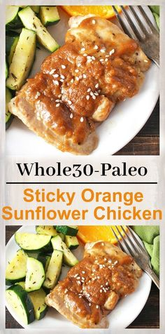 Paleo Sticky Orange Sunflower Chicken- a flavorful, healthy meal! Whole30, gluten free, and dairy free. Low FODMAP option.