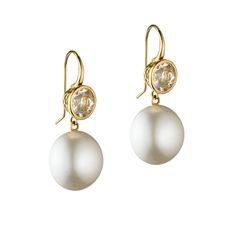 18ct Yellow Gold 7mm crownwork set White Sapphire (2cts) earrings with Pearl drops