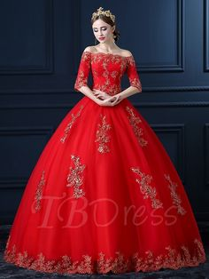Tbdress.com offers high quality Red Off-The-Shoulder Appliques Ball Gown Royal Lace Wedding Dress Latest Wedding Dresses unit price of $ 188.09.
