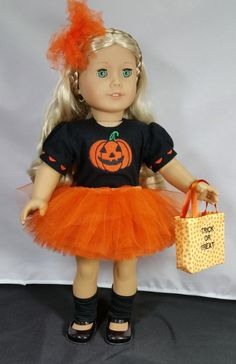 Halloween Pumpkin Tutu Ballerina Costume by DollClothesbyShirley