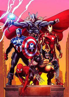 Thor, Captain America, Wolverine, Spider-man, Iron Man