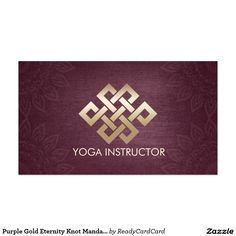 Purple Gold Eternity Knot Mandala Yoga Instructor Business Card