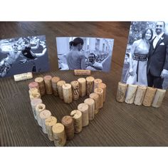great idea if you need a lower table element for your centerpiece (I like the horizontal photo in the single cork) Winery Bridal Showers, Bridal Shower Wine, Wedding Shower Decorations, Wedding Centerpieces, Table Decorations, 50th Wedding Anniversary, Anniversary Parties, Deco Table, Diy Wedding