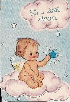 reduce to create a gift tag for a baby shower Vintage Baby Pictures, Vintage Images, Vintage Greeting Cards, Vintage Postcards, Angel Baby Shower, Pumpkin Photos, Retro Baby, Baby In Pumpkin, Vintage Birthday