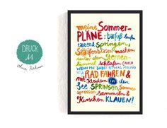"""Illustrationen und Typo Poster """"Mein Sommer"""" / art print illustration, typo poster """"summertime"""" by Frau-Ottilie via DaWanda.com"""