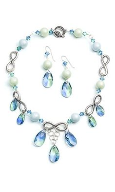 4d270920455 Jewelry Design - Single-Strand Necklace and Earring Set with Swarovski  Crystal and Metal Links