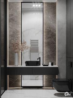 Черный унитаз, черная раковина, туалет, маленький туалет, рельефная стена, большое зеркало, серый мрамор, белый мрамор