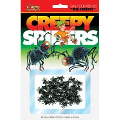 OFF or FREE SHIP -Creepy Spiders : - inch plastic spiders. Offered on full color blister pack, 15 spiders per card. Halloween Supplies, Halloween Costumes For Kids, Halloween Decorations, Spider Prank, Tiny Spiders, Halloween Express, Morris Costumes, Practical Jokes, Halloween Spider