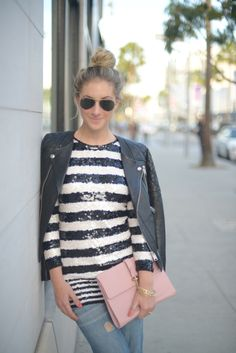Sparkles and Stripes | Cupcakes & Cashmere....I can adapt this with my J Crew polka dot sequined top.