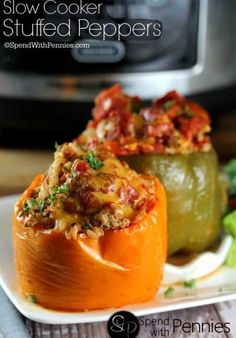Crock Pot Stuffed Peppers! These deliciously easy stuffed peppers are the perfect meal to come home to!