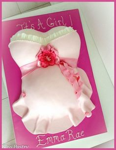 Feminine Baby Shower Cake - by BlissPastry @ CakesDecor.com - cake decorating website