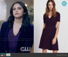 Sandro Betsy Dress worn by Veronica Lodge (Camila Mendes) on Riverdale Veronica Lodge Fashion, Veronica Lodge Outfits, Veronica Lodge Riverdale, Riverdale Cast, Red And Black Outfits, Riverdale Fashion, Cami Mendes, Fashion Tv, Fashion Ideas