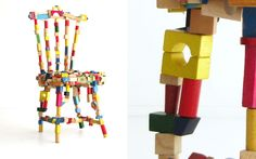 Comfy...no. Creative? Yes!  Recycled toy block chair