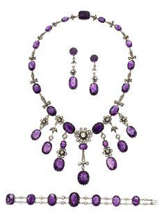 Art Deco Amethyst, Diamond, White Gold Jewelry Suite