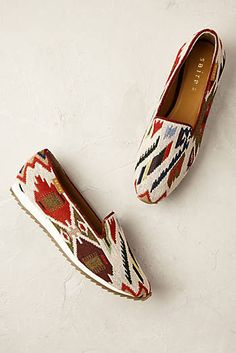 Aztec Loafers. Enliven ensembles with a vibrant Aztec print, perfect for pairing with laid-back and dressed-up outfits alike.