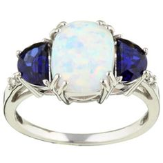 14k Gold Opal Sapphire and Diamond Ring - Overstock™ Shopping - Top Rated Gemstone Rings