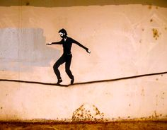 """Street Art - Tight Rope by Mike Johnston """"TRUTH"""""""