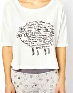 ASOS Dreaming Sheep Print Jersey Night Tee