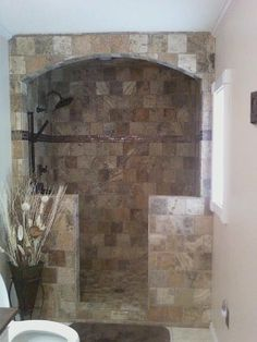 Tuscan style – Mediterranean Home Decor Glass Shower, Indoor Decor, Custom Bathroom, Glass Shower Enclosures, Stone Shower, Shower Remodel, Tuscan Style, Stone Arch, Luxury Bathroom