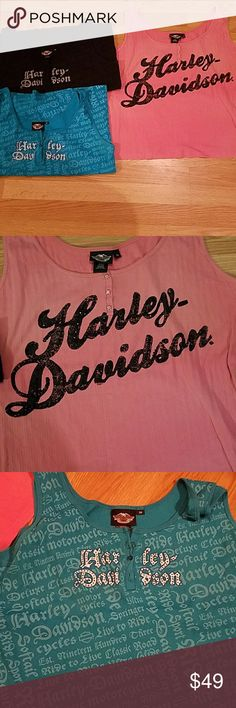 Lot of 3 Harley Davidson tanks 3w All 3 tanks included worn but in great used condition. No store name on the back!! Some light wear but overall great shape!! Harley-Davidson Tops
