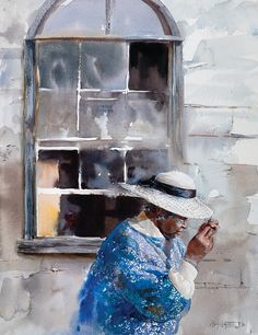 """MARY WHYTE  """"Goin to church"""" Watercolor artist MARY WHYTE is a teacher and author whose figurative paintings have earned national recognition. A resident of Johns Island, South Carolina, Whyte garners much of her inspiration from the descendents of enslaved coastal Carolina Gullah people who number among her most prominent subjects. See more on her own site: http://marywhyte.com/bio.php"""