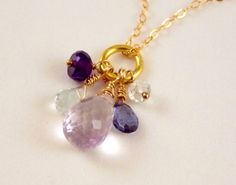 Gorgeous, Multi-Color Gemstone Charm Necklace with 14k Gold Filled Chain on Etsy, $48.00