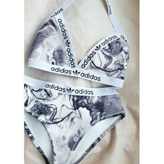 Reworked Black & white adidas bikini by croptopchannel on Etsy
