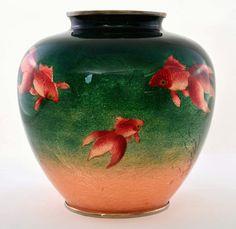 Japanese Beauty, Goldfish, Peach, Vase, Green, Beautiful, Design, Home Decor, Decoration Home