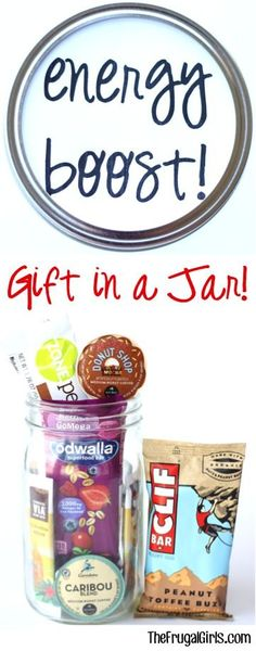 Energy Boost Gift in a Jar! ~ from TheFrugalGirls.com - such a fun mason jar gift for teacher appreciation or friends that could use a little boost of energy! #giftsinajar #masonjars #thefrugalgirls