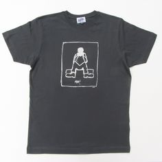 Man on men's charcoal t-shirt