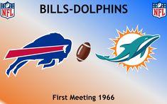 1966, National Football League (1st BILLS-DOLPHINS), Buffalo Bills < > Miami Dolphins #Bills #Dolphins #NFL (L24423) Miami Dolphins, Football Rivalries, Sports Logos, Buffalo Bills, National Football League, Nfl, Logo Design, National Soccer League