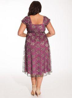 Curvalicious Clothes::Plus Size Dresses::Rachelle Plus Size Lace Dress in Metallic Orchid