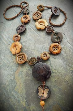 Necklace with Flower & Assorted & Knotted Cord from the Cerebral Dilettante Fabric Jewelry, Beaded Jewelry, Handmade Jewelry, Jewelry Accessories, Jewelry Design, Button Necklace, Button Crafts, Beads And Wire, Artisan Jewelry