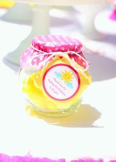sunshine and lemonade party and party favors