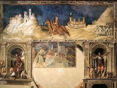Simone Martini : Portrait équestre de Guidoriccio da Fogliano. 1328-1330. Fresque, 340 x 968 cm. Sienne, Palazzo Pubblico