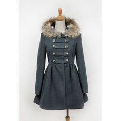 Chic Double-Breasted Large Hem Gray Woolen Fabric Hooded Coat For Women