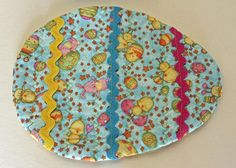 Easter Egg Quilted Mug Rug Snack Mat Set Debbie Mumm Bunnies Chicks Eggs Teal Yellow Pink Rick Rack