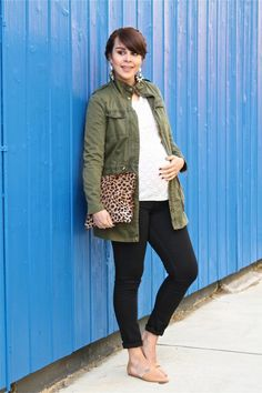 Maternity lace, utility jacket, leopard clutch: Get this looks for under $50! http://www.MotherhoodCloset.com