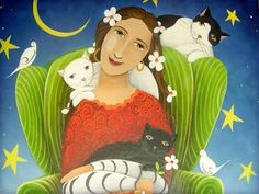 Cats perched on lady's shoulder