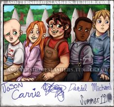 Some Lil' Slashers content for y'all! Based off this Little Rascals photo. From left-to-right, we have Jason Voorhees, Carrie White, Bubba Sawyer (he can't write, but he did. Horror Movies Funny, Horror Movie Characters, Scary Movies, Jason Voorhees, Horror Icons, Horror Art, Michael Myers, Carrie White, Mickey Mouse