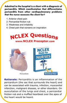 FREE Practice NCLEX questions for registered nurses. Get nursing tips to give… Nursing Questions, Nclex Questions, Nursing Books, Nursing Tips, Rn Nurse, Nurse Life, Nclex Exam, Registered Nurses, Nursing Mnemonics