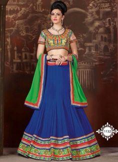 Blooming Blue With Green Georgette Embroidery Work Lehenga Choli