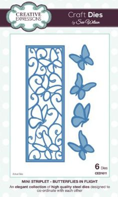 Creative Expressions Craft Dies by Sue Wilson - Mini Striplet - Butterflies in Flight Butterfly Images, Butterfly Cards, Paper Butterflies, Sue Wilson Dies, Stencils, Craft Online, Bird Embroidery, Card Making Supplies, Dot Art Painting