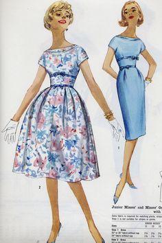 Old Dresses, Vintage Dresses, Vintage Outfits, Dresses For Work, Vintage Dress Patterns, 60s Patterns, 1950s Fashion, Vintage Fashion, Fashion Through The Decades