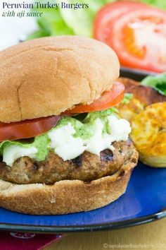 Healthy Recipes : Illustration Description Peruvian Turkey Burgers with Aji Sauce – moist and flavorful patties with South American flair and just a bit of spice. with Jennie-O Turkey Aji Sauce, Healthy Burger Recipes, Sandwich Recipes, Healthy Meals, Chocolate Chip Cookie Pie, Delicious Burgers, Kale Chips, Turkey Burgers, Sauce Recipes