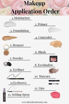 makeup order of application how to apply - makeup order of application ; makeup order of application how to apply ; makeup order of application contour ; makeup order of application faces Makeup Brush Uses, Makeup 101, Makeup Guide, Makeup Contouring, Makeup Ideas, Basic Makeup Kit, Makeup Basics, Makeup Tricks, Contouring Guide