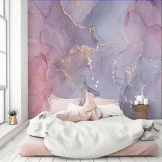 Purple Rooms, Purple Walls, Pink Room, Purple Gold, Blush Pink, Lila Gold, Pink Lila, Pink Accent Walls, Accent Wall Bedroom